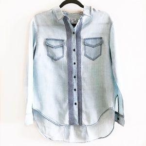 NWOT! Blue Denim Embroidery Shirt